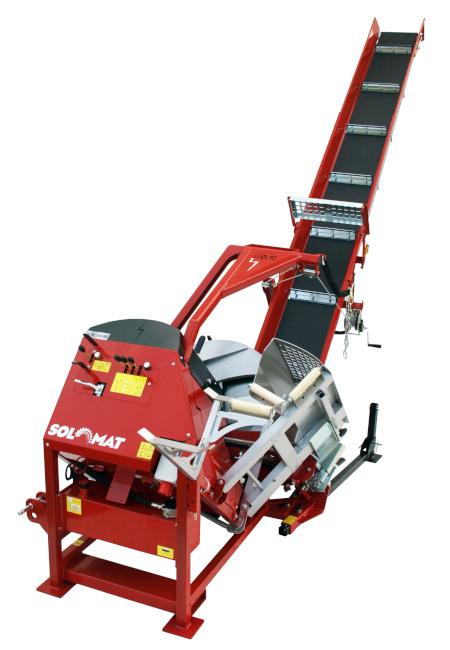 Rote Solomattrommelsäge mit hydraulischer Wippe
